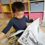 新聞紙遊び😆🎵